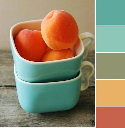 Kitchen Color Scheme: blues, yellows, and peach