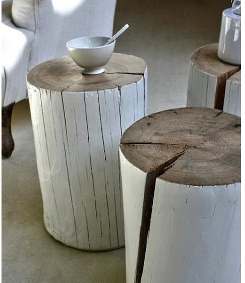 Tree stump side tables
