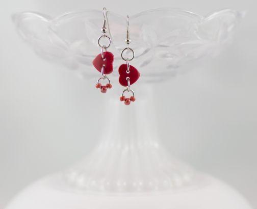 Red heart button bead dangling earrings