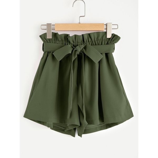 Frill Waist Self Tie Shorts ($7.99) ❤ liked on Polyvore featuring shorts, flounce shorts, ruffle trim shorts, frilly shorts, ruffle shorts and frill shorts