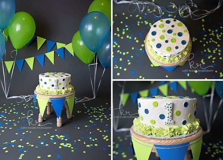 Little boy, one year, studio photography, photo, pictures, boy, one, birthday photos, cake smash, cake, green, blue, grey, balloons, banner, Kathy Rogers Photography