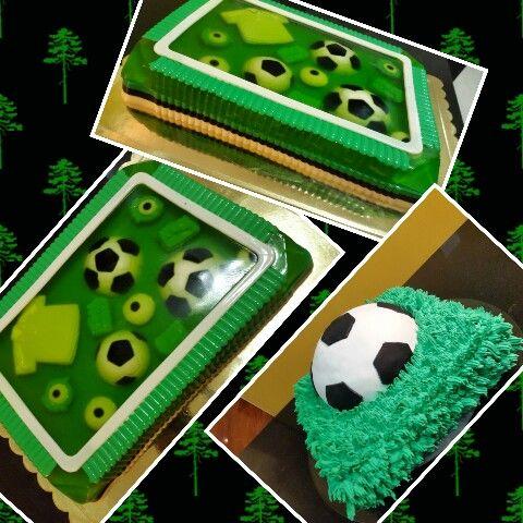 Gelatina en 3D y pastel de futbol