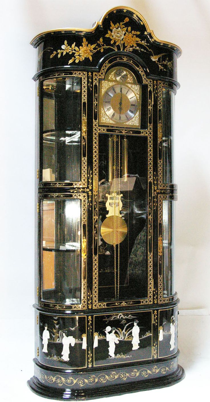 Details About Oriental Furniture Black Lacquer Grandfather Clock 2019 Clock Saatler Antika