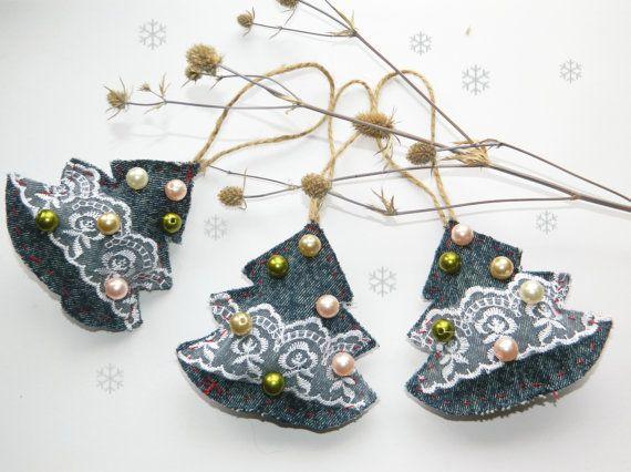 Christmas TreeDenim Lace treeChristmas by CuteThingsOnEtsy on Etsy, $13.50
