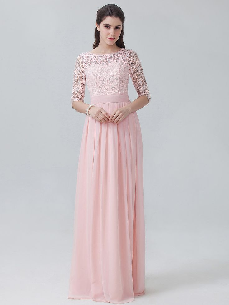 long sleeve elegant floor length peach bridesmaid dress with lace bodice from @forhimandforher