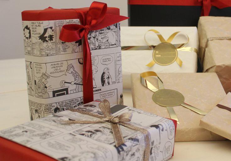 Cartoons add a nice touch to gifts. Sarjakuvat ovat oiva lisä lahjapaketteihin. www.pisadesign.fi