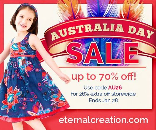 Happy Australia Day - January 26!  To celebrate, we're giving you 26% off storewide- making current sale products up to 70% off! Shop now at www.eternalcreation.com  Sale ends Wednesday night!