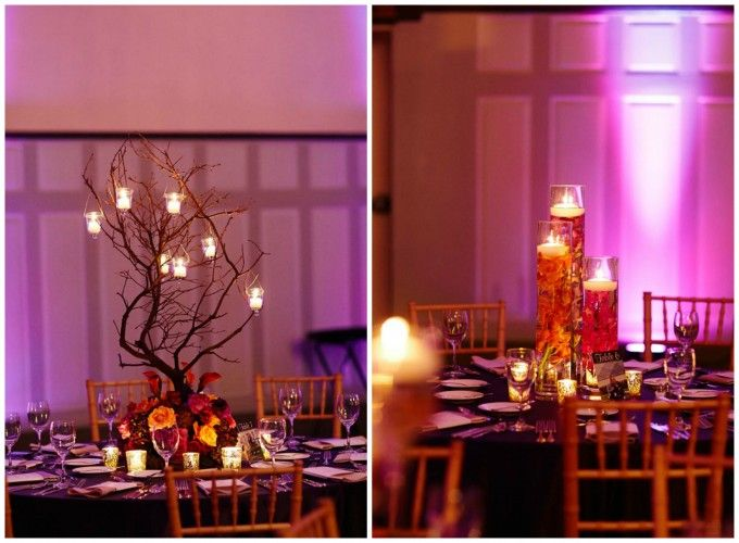 Manzanita Branch with Hanging Candles Centerpiece.   Submerged Centerpieces.  Dennis Lee Photography. Sweetchic Events. Vale of Enna.
