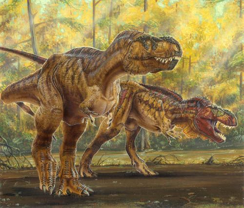 """""""Mr. and Mrs. Rex."""" ;) (Actually, is it still Known that female """"Rexes"""" are Bigger than the Males, or, did they find Proof otherwise?) *Art by Todd Marshall.*"""