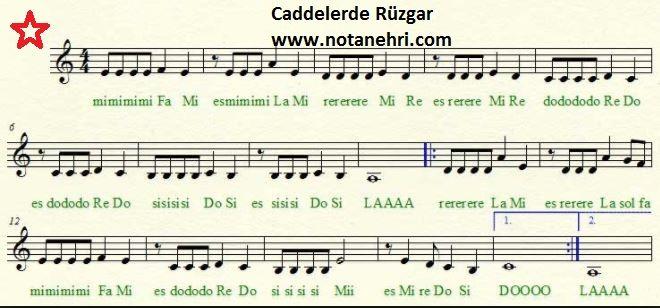 Caddelerde Rüzgar Notaları (Nota Kağıdı+Solfej+do re mi) | Do Re Mi Notalar, Bağlama Notaları, Türkü Notaları, Saz Notaları