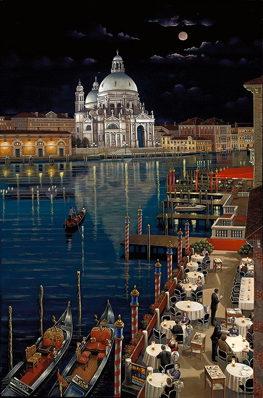 LIUDMILA KONDAKOVA, Grand Canal. Serigraph on canvas. Romantic Realism.