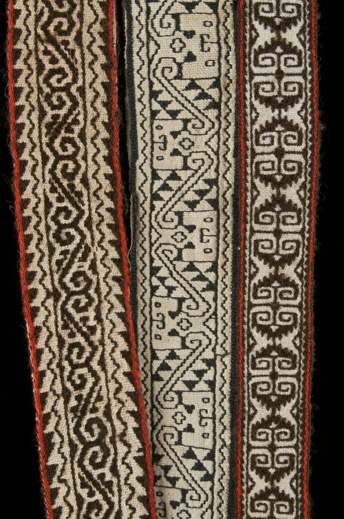 This assortment of Huichol textile ribbons highlights the wide variety of designs and colors used by weavers in the 1930s. Tuxpan de Bolaños, ca. 1934. Lengths range from 0.75 to 1.1 m. Robert M. Zingg collection, Museum of Indian Arts and Culture/ Laboratory of Anthropology,