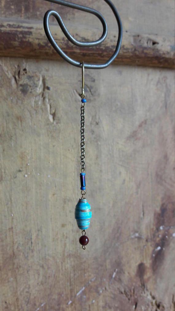 Blue earrings Handmade earrings Dangle earrings Vintage