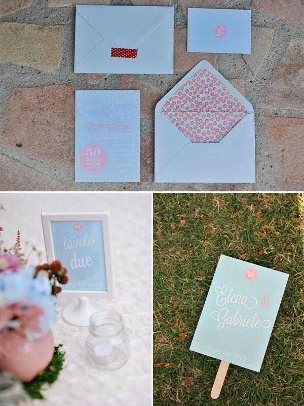 powder blue wedding stationery