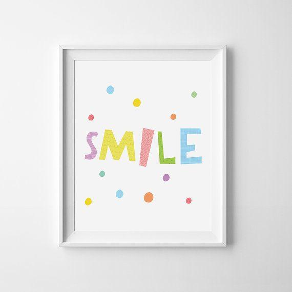 Smile print digital file nursery printable quote by MiniLearners