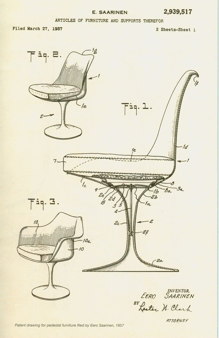 Knoll life chair geek - Patent Illustration For Eero Saarinen Pedestal Collection