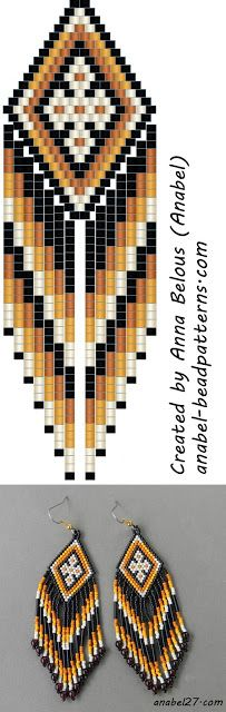 Scheme ethno-Earrings - Mosaic / brick weave - free peyote earrings pattern