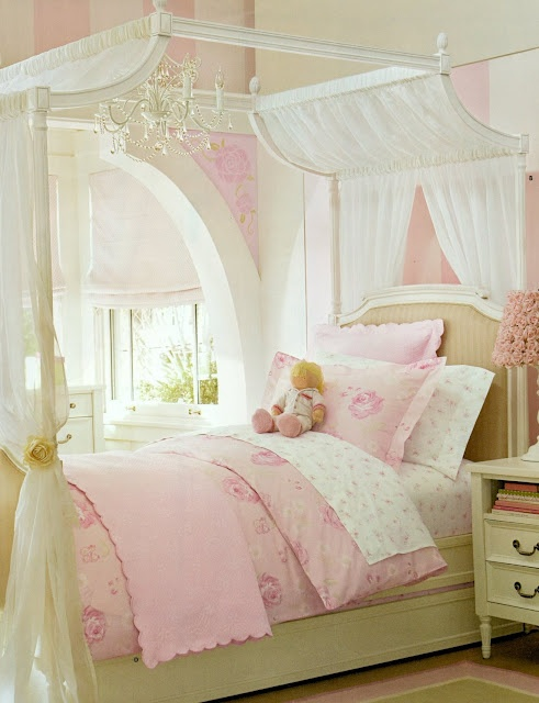 Adorable Pale Pink Little Girl's Bedroom Inspiration room maybe use Tiffany Blue color palette, ask Riley. GG