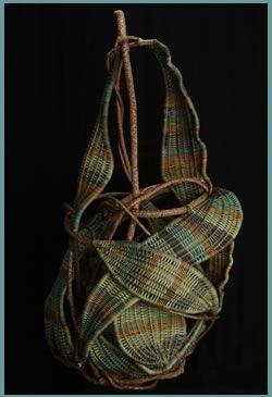 Tina Puckett / woven sculpture / Pear. Follow Fiber Art Now on FB for more fiber art finds - https://www.facebook.com/FiberArtNow