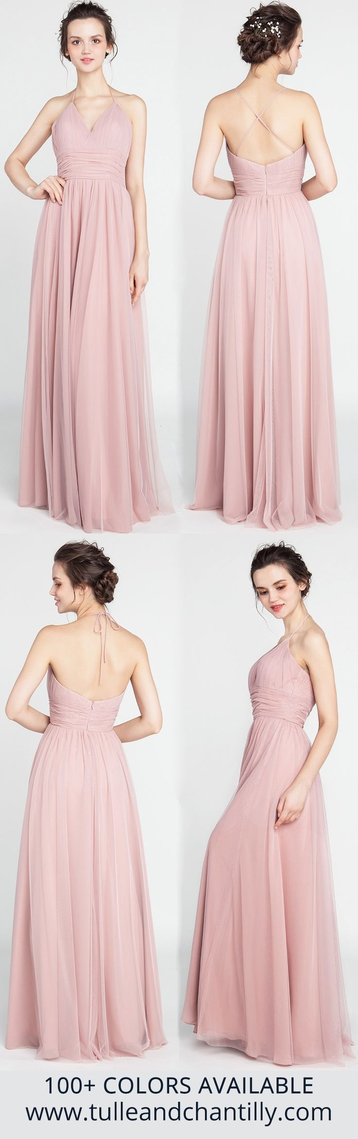 Best 25 rose bridesmaid dresses ideas on pinterest dusty rose long v neck dusty rose tulle bridesmaid dress with open back ombrellifo Image collections