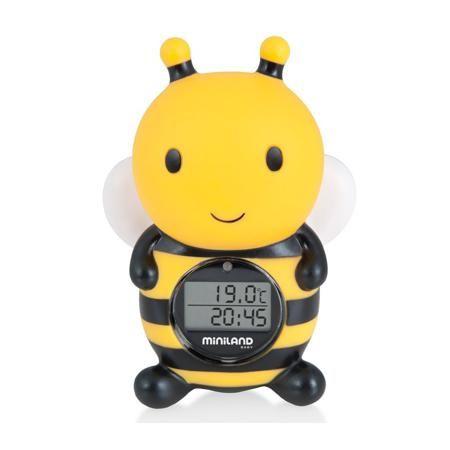 """Miniland Цифровой термометр Thermo Bath  — 1460р. -------------- Цифровой термометр для воды и воздуха """"Thermo Bath"""" маркиMiniland. Симпатичный термометр в виде пчелки поможет точно и быстро измерить температуру окружающей среды. Характеристики: - Быстрое определение температуры;- Имеет сигнал, предупреждающий о чрезмерном повышении и понижении температуры воды;- Не тонет в воде, водонепроницаемый; - При погружение в воду автоматически включается таймер;- Есть часы и таймер;- Красивый…"""