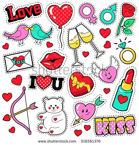 Fashion Love Badges Set with Patches, Stickers, Lips, Hearts, Kiss, Lipstick in Pop Art Comic Style. Vector illustration