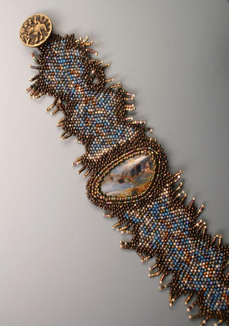 Pietersite beadweave bracelet by jhaines on Etsy