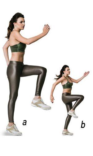 """DIA 1  """"Corrida no lugar""""  a) Em pé, uma das pernas elevada com o joelho em ângulo de 90 graus e cotovelos flexionados. O braço oposto à perna elevada fica à frente do corpo e o outro atrás.  b) Salte e troque o pé de apoio e a posição dos braços, simulando uma corrida sem sair do lugar.  **Executar apenas um exercício por dia: são 20 seg. ativos e 10 de descanso, por 8 vezes. Antes de começar, faça um aquecimento com rotações de braços, de tronco e de quadris e com algumas repetições do…"""