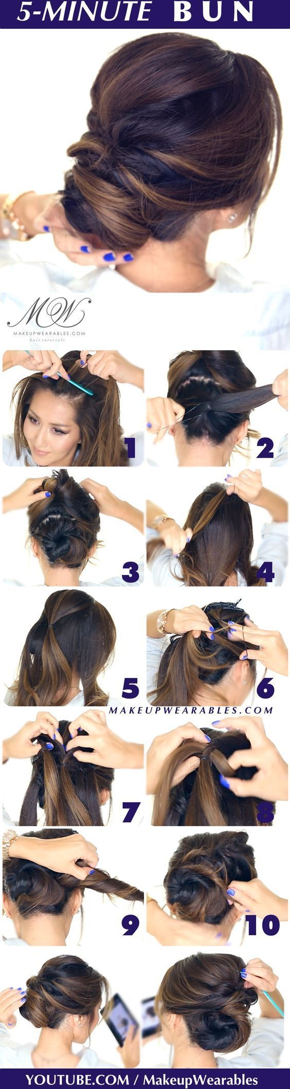 hair tutorial - easy romantic bun hairstyle - Elegant twisted bun hairstyles for homecoming prom wedding: (chignon hair style)