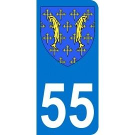 Autocollants 55 blason département Meuse pour plaque immatriculation