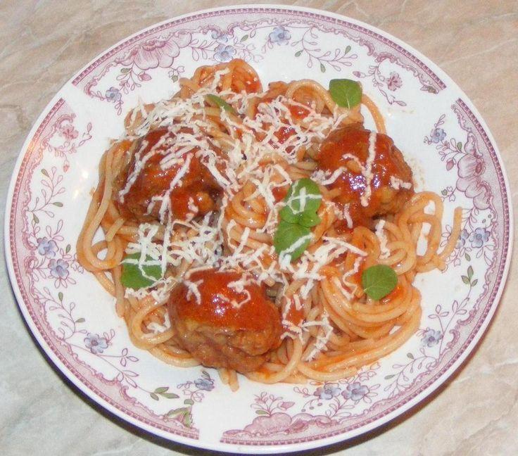 Spaghete cu chiftele marinate