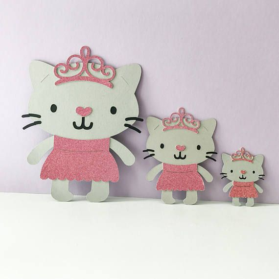 ~ PRINCESS KITTY CAT ~ These adorable princess kitty cats are made with a touch of glitter paper (non shedding glitter) Available in 3 ~ sizes Small 1.5 ~ Medium 2.5 ~ Large 4 They are perfect for crafting or for decorating your party. They have so many uses ~ decorations, cupcake toppers, goody bags, banners, centrepieces...so many ways to use them!  cricut critter cartridge cat party kitty cat kitten theme