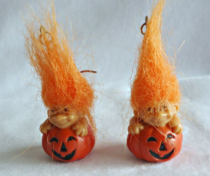 Trolls Hook Earrings Orange Hair Jack o Lantern Pumpkin Halloween by TreasureCoveAlly on Etsy