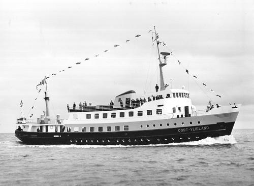 Ms Oost-Vlieland (II, 1962-1990) tijdens haar proefvaart op 6 juni 1962.