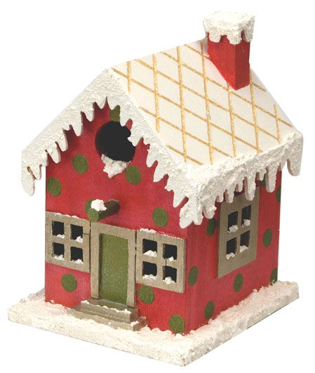 Gingerbread Birdhouse   Decorate for the holidays with this unique birdhouse featuring snow texture and a red and green color scheme. Give birds a home for the holidays.