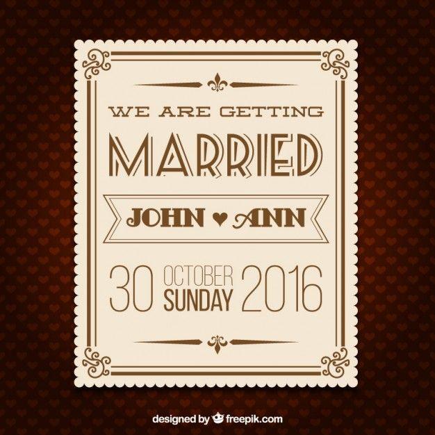 Wedding retro invitation card Free Vector