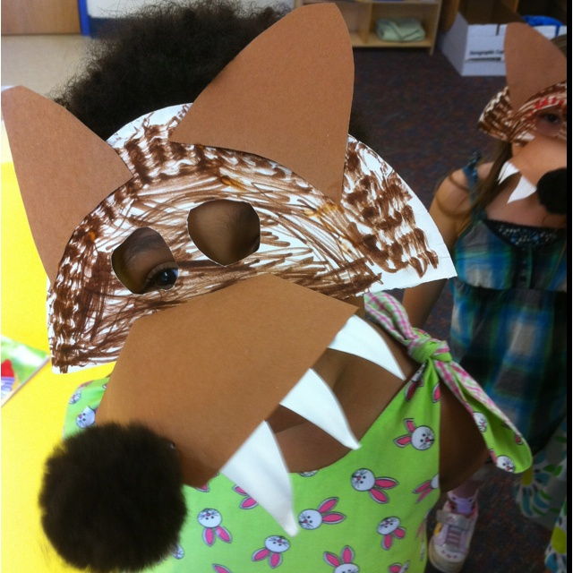 Wolf mask! We made these for Little Red Riding Hood. They turned out so cute and the kids loved them!