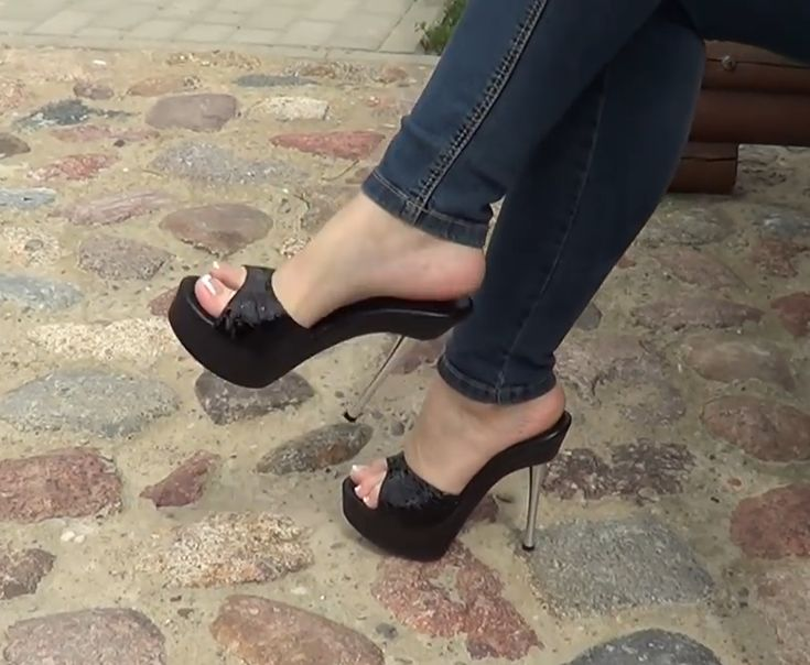 Fetish fetish heels mules in the street young cock