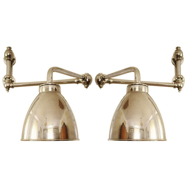 Pair of American Art Deco Chrome-Plated Adjustable Wall Mounted Reading Lights. | From a unique collection of antique and modern wall lights and sconces at http://www.1stdibs.com/furniture/lighting/sconces-wall-lights/