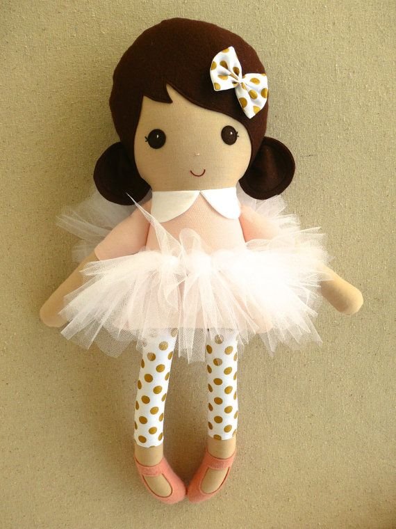 Custom listing for Monique:    This is a handmade cloth doll measuring 20 inches. She is wearing a sweet, pale pink dress with white and gold dot