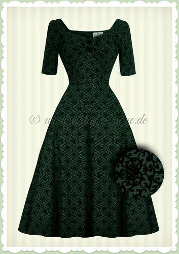 Collectif 40er Jahre Vintage Brocade Floral Kleid  - Dolores Doll - Grün