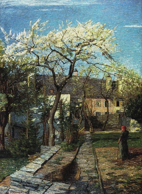 Cherry Tree in Blossom - Carlo Fornara 1914