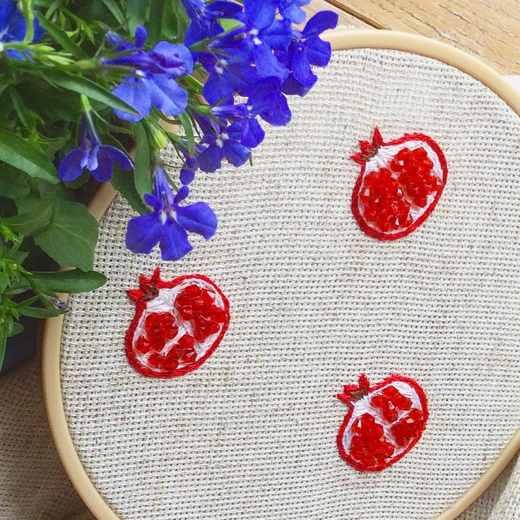 Future brooches #brooch #embroidery #handmade #japan #pomegranate #garnet #embroideredbrooch