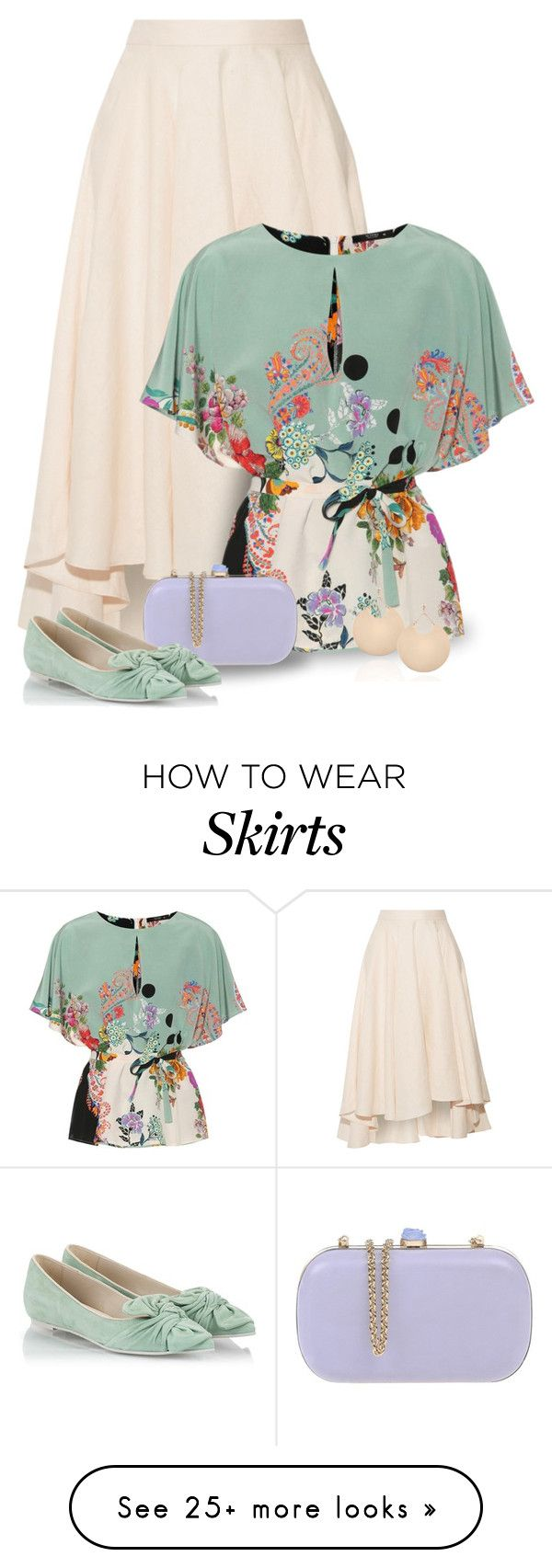 """Silk Top & Asymmetric Midi Skirt With Ballet Flats"" by majezy on Polyvore featuring Miguelina, Etro, RED Valentino and RAS"