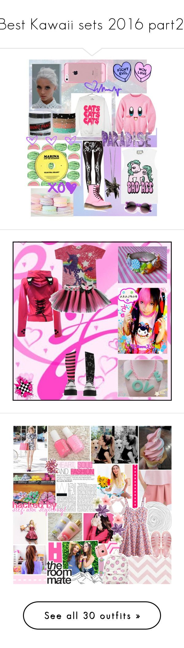 """""""Best Kawaii sets 2016 part2."""" by rockergirl-861 ❤ liked on Polyvore featuring See You Monday, Dr. Martens, Origami Jewellery, My Little Pony, Manic Panic NYC, Forever 21, T.U.K., pink, japanese and decora"""