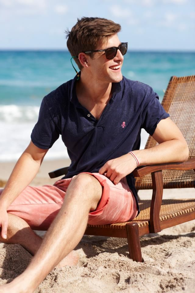 Ivy beachwear by Rugby. Nantucket red with navy; an impeccable combination. Ivy League Style