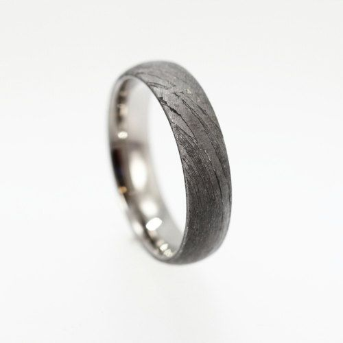 Meteorite Ring Over Titanium Band Brenham by jewelrybyjohan, $576.00
