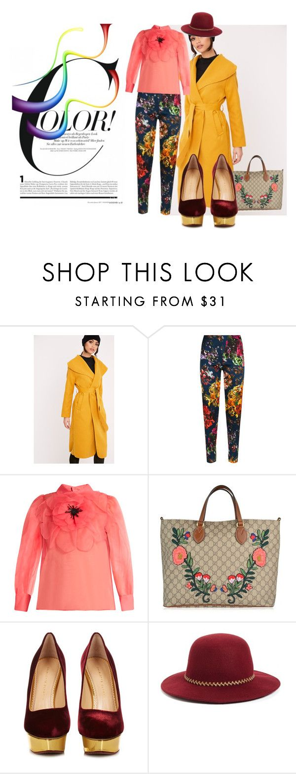 """Spring ahead"" by ningaunis ❤ liked on Polyvore featuring Gucci, Charlotte Olympia, August Hat, floralpants, platformpumps, beltedcoats and embroideredhandbag"