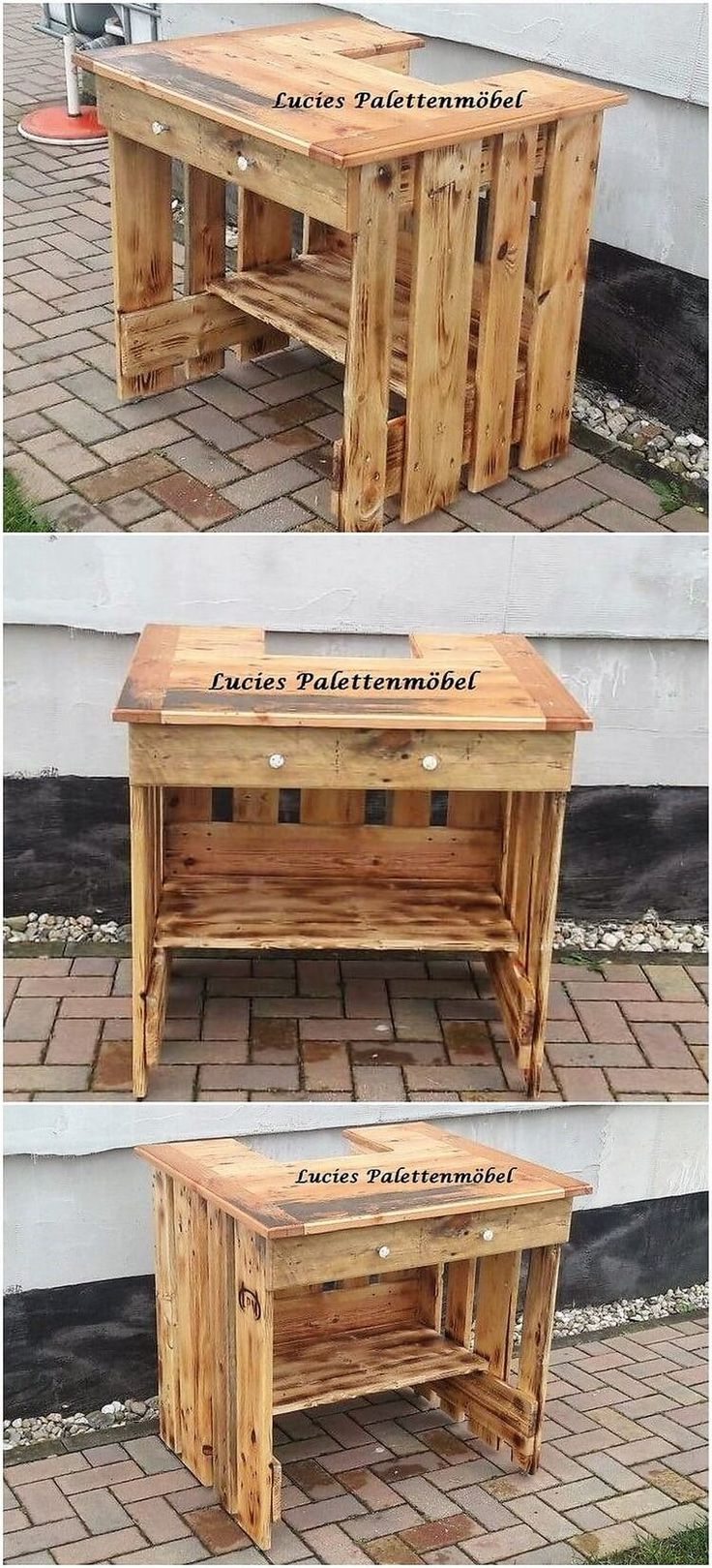 This is another one of the creative piece of wood pallet designing which you can amazingly set in your garden or lounge area. This wood pallet counter table design is meant as best to be used for the decoration placement ideas. It do has the blend of drawers right into it.