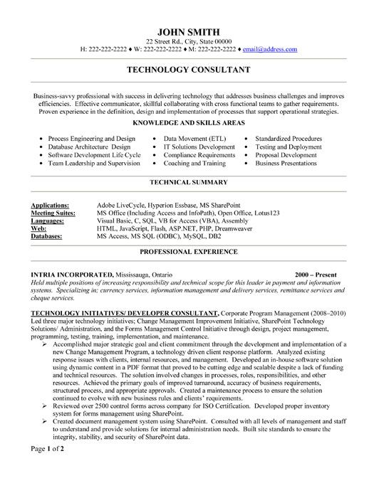 Click Here to Download this Technology Consultant Resume Template! http://www.resumetemplates101.com/Consulting-resume-templates/Template-385/